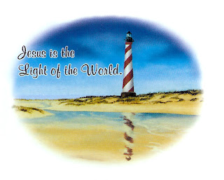 Nature background picture with light house of sea and words Jesus is the light of the world
