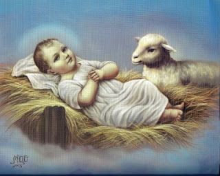 Savior Jesus born in manger and lamb at child Jesus drawing art picture download religious images of Jesus and Mother Mary for free