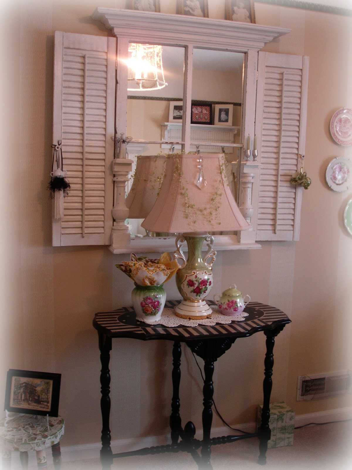 Forever decorating green toile guest bedroom for Decorating with old windows and shutters