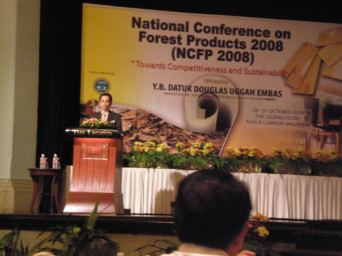 Delivering Speech at National Conference on Forest Products (NCFP), Legend Hotel, KL (October 2008)