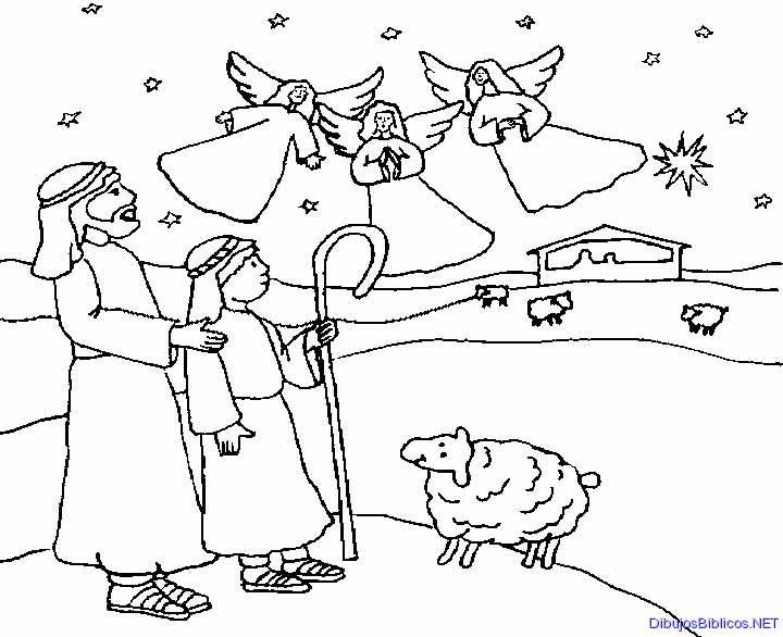 El anuncio a los pastores. NT. Dibujo para colorear. B/N. | Ana de ...