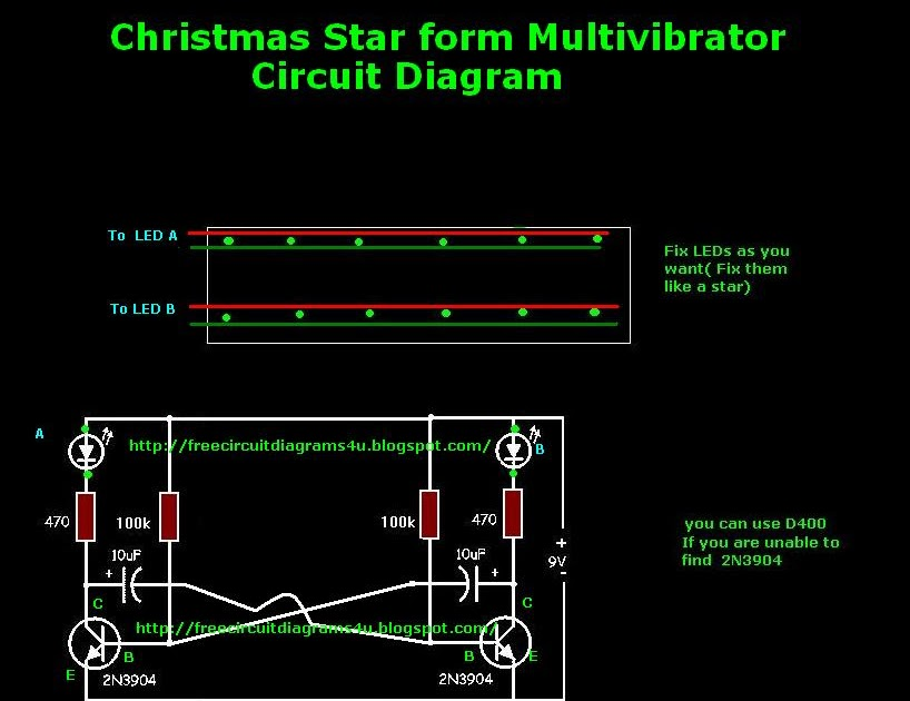simple christmas star from multivibrator circuit diagram electro rh tencircuitdiagram blogspot com  led christmas star circuit diagram