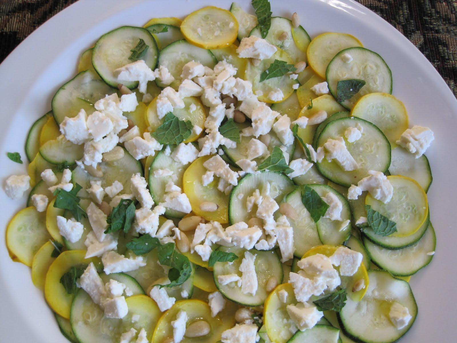 Zucchini Carpaccio With Feta And Pine Nuts Recipe — Dishmaps