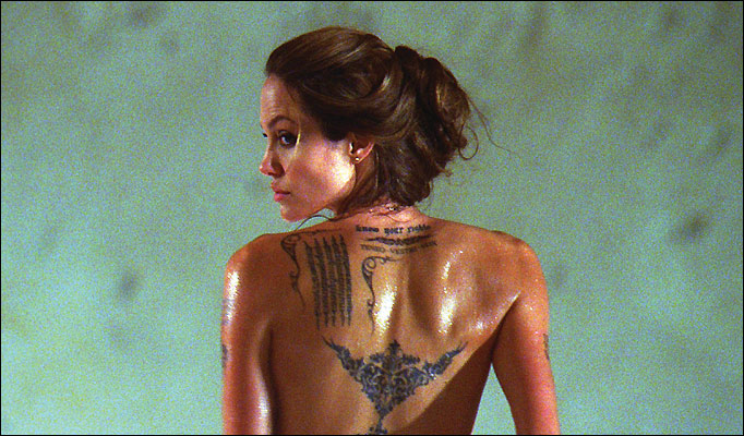 angelina jolie tattoos wanted movie. all of those tattoos.
