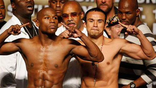 <br /> mayweather vs marquez weigh in image