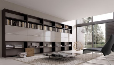 Modern living Room wall units Book Home Library