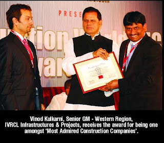IVRCL Infrastructures Projects Receives The Award For Being One Amongst Most Admired Construction Companies