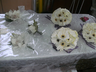 closeup of bridesmaids bouquets