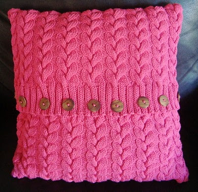 Cotton Cable Cushion Cover. Hand Knitting Pattern.