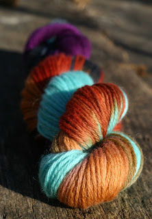 image of hand dyed worsted weight wool yarn