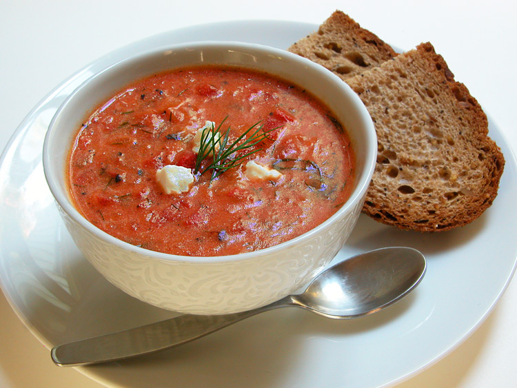 Cooking Weekends: Easy Chunky Tomato Soup with Goat Cheese