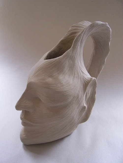 Carved White Sculptural Stein, 2009