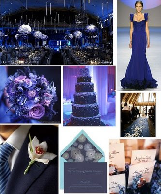 navy blue wedding storyboard with purple and silver