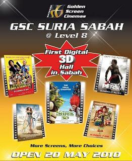 3d digital hall movie opens suria sabah kota kinabalu sabah