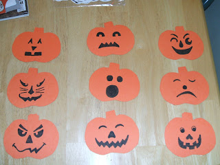 shapes. Draw 9 different jack-o-lantern faces, making two of each face