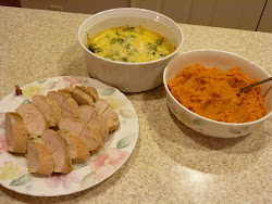 Turkey Tenderloin, Mashed Yams, and Cheesy Brocolli