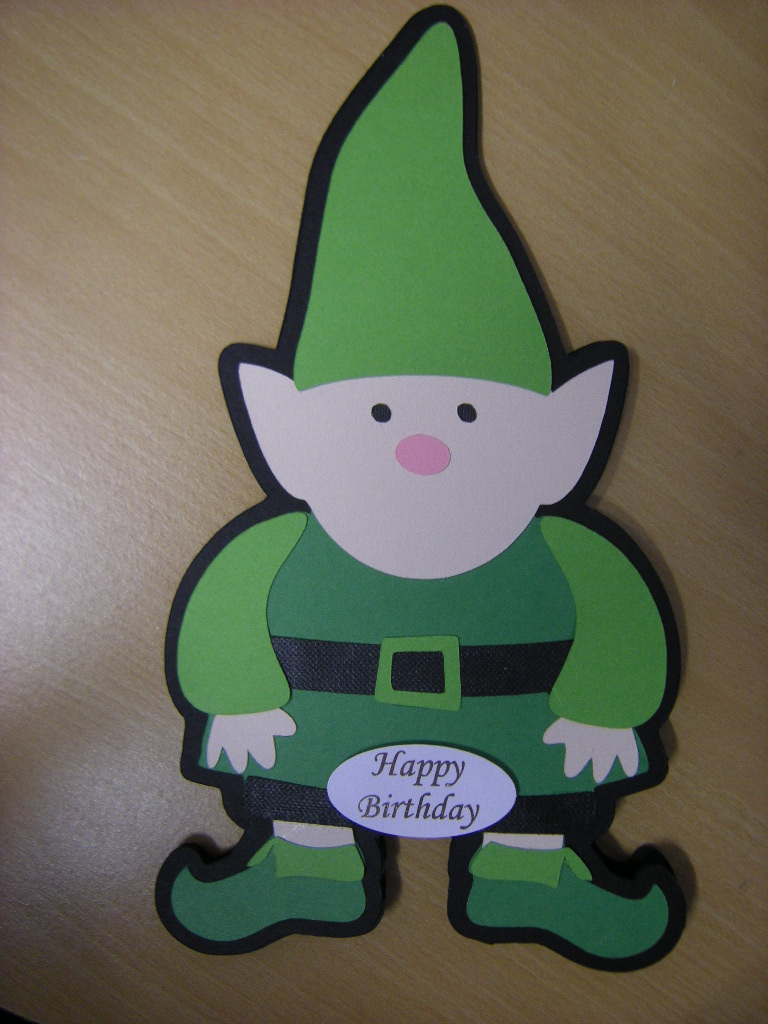 Gnome shaped card made using gypsy and expression.