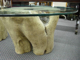 Newport avenue antiques unusual modern tree trunk base Tree trunk coffee table glass top