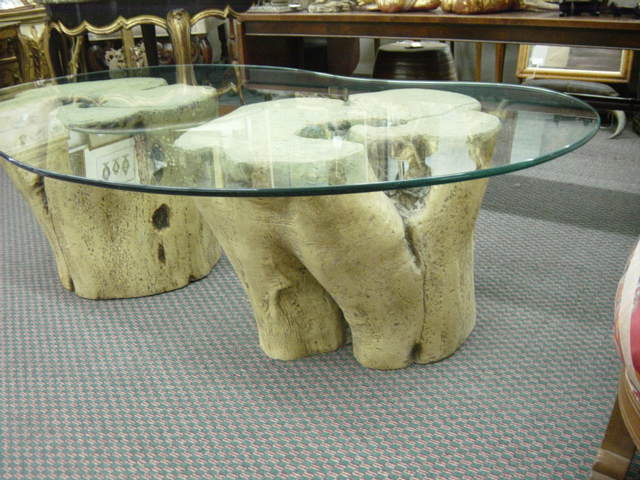 Newport Avenue Antiques Unusual Modern Tree Trunk Base Coffee Table