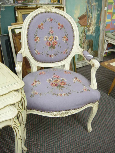 VINTAGE FRENCH STYLE LAVENDER NEEDLEPOINT CHAIR - Newport Avenue Antiques: VINTAGE FRENCH STYLE LAVENDER NEEDLEPOINT CHAIR