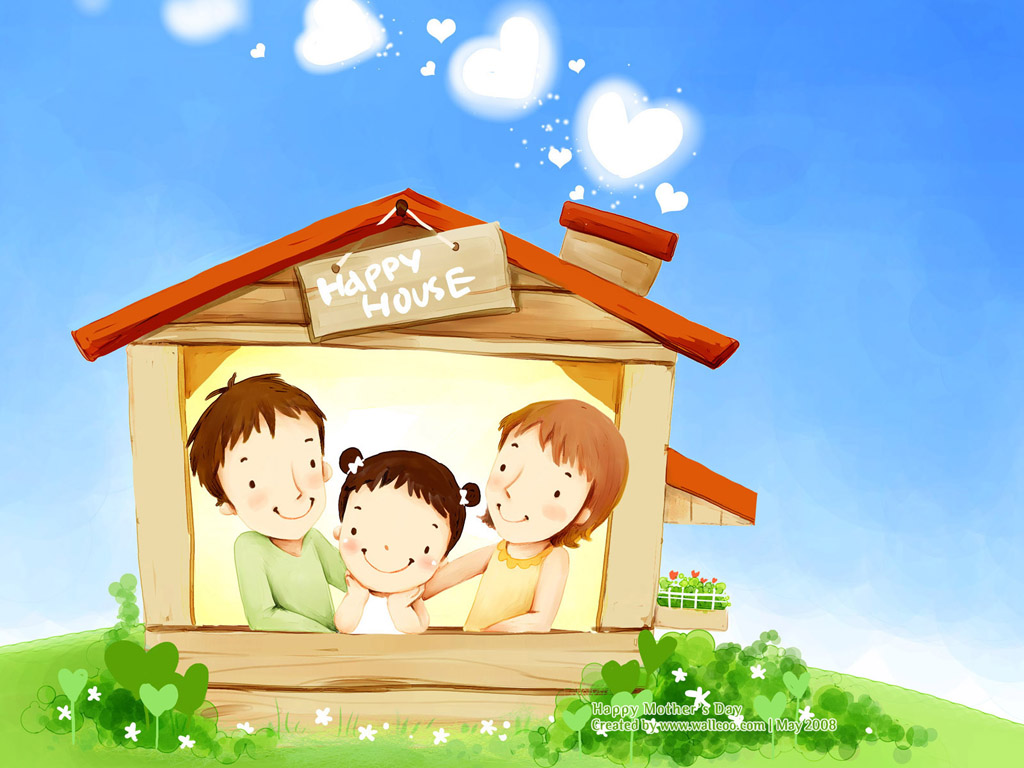 My home Oz Puu :X [ New Update =]] ] Lovely_illustration_of_Happy_family_in_house_wallcoo.com