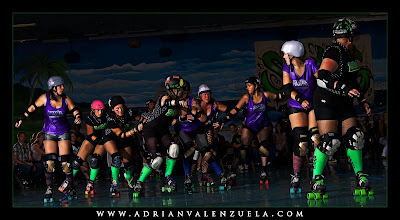 Roller Derby Photos, Roller Derby Photography, Adrian Valenzuela, Silicon Valley Roller Girls, Angel City Derby Girls, Feisty Irish Whips Pia Mess, Feisty Irish, Death by Dollface, Pia Mess