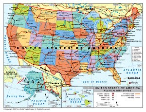Map of major us cities and rivers