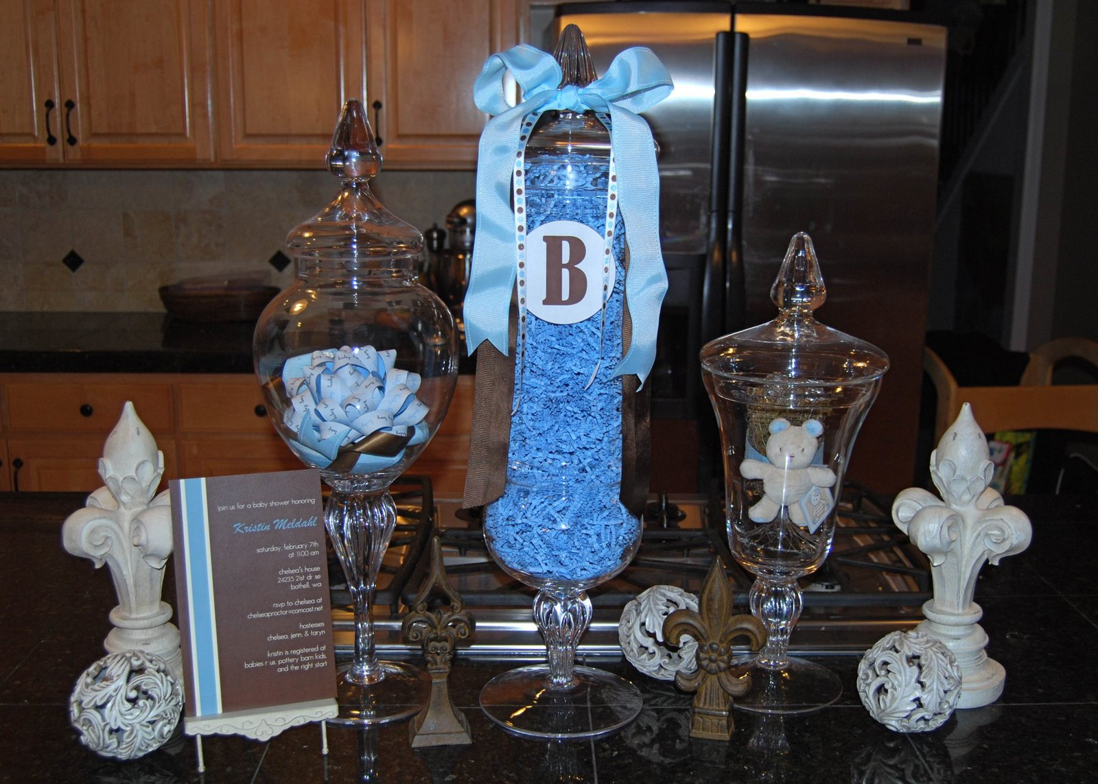 blue and brown baby shower table ideas photograph recently