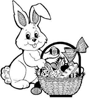 Cute Easter bunny smiling with Easter gifts with basket coloring page hd(hq) wallpaper for kids and children free Christian images and Easter clip arts download