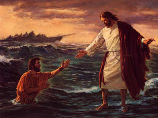 Peter walking on water with Jesus Christ color drawing art free Christian religious hd(hq) wallpaper