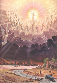 Jesus Christ coming with bright light and shine around him while angels welcoming by praying and singing religious Christian drawing art picture free download