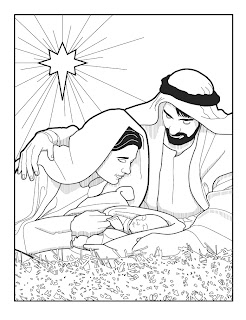 Mother Mary and his father are Happy by seeing baby Jesus Christian religious coloring page picture