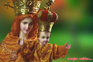 Child Jesus Christ doll smiling with mother Mary with crowns Christian hd(hq) wallpaper free download