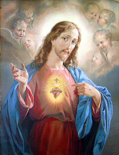Sacred heart of Christ color drawing art picture with Cross and angels download free religious photos and Christian images