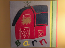 "Hand painted ""Barn"" canvas art $18"