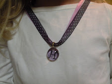 Purple and white cheetah chick charm pendant with ribbon necklace $9