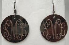 Chocolate Silver earrings $16 + $5 for monogramming