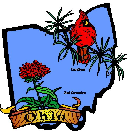 ohio map bird flower