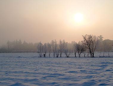 La campagna sotto la coltre di neve. Foto di Andrea Mangoni.