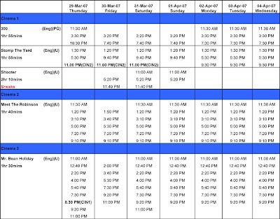 Movie schedules