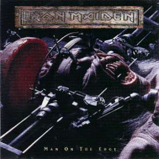 Portada Iron Maiden single man on the edge