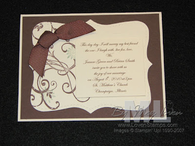 Handmade Wedding Invitation Ideas on Meg Loven  Stampin  Up  Demonstrator  Stamped Wedding Invitation Idea