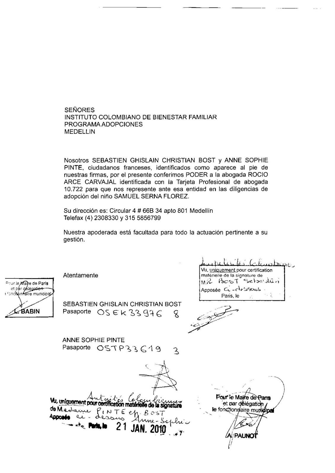 Adopter à Medellín: Exemple de Poder (procuration)