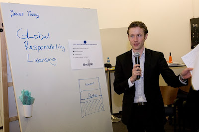 James Moody at a flipchart talking about socially responsible licensing