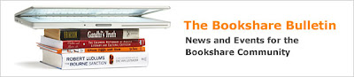 Stack of books next to text: Bookshare Bulletin, News and Events for the Bookshare Community