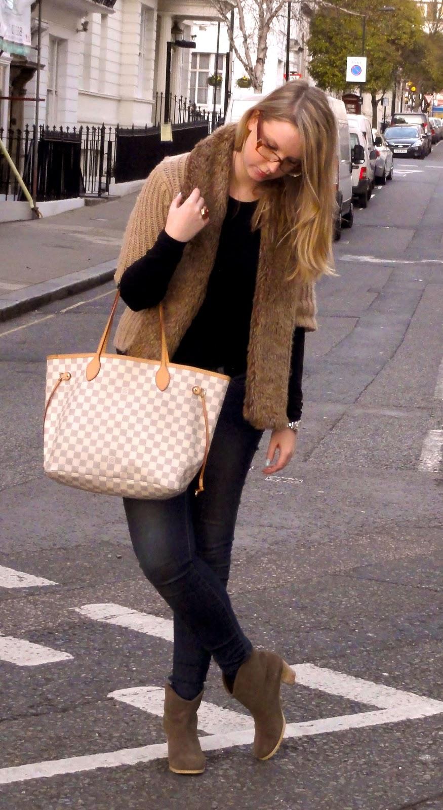 , Camel Faux Fur Knit by Zara, Louis Vuitton Neverfull Azur in MM  - 875 x 1600  286kb  jpg