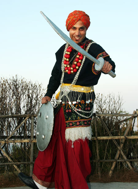 In traditional Khasi dress
