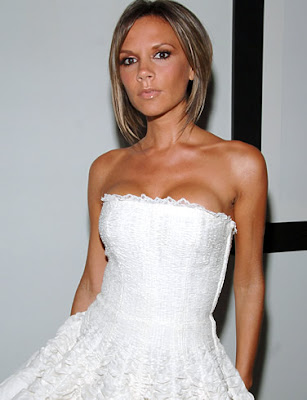 Victoria Beckham sexy white dress