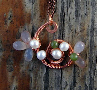 Spring Surprise- Copper wrapped pendant