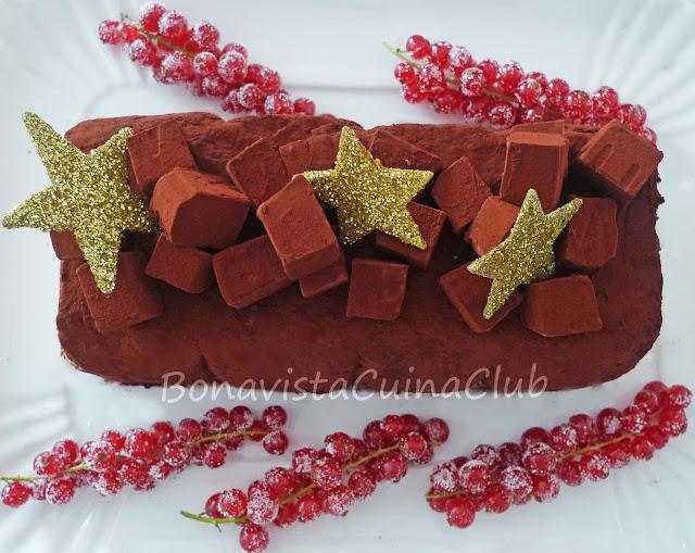 Receta de Tronco semifredo de tiramisu y cacao. Postres de Navidad y días de fiesta,paso a paso